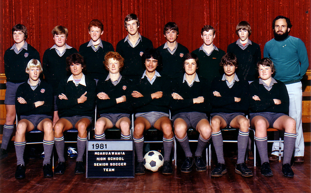 1981 NGARUAWAHIA HIGH SCHOOL 1st 11. Rear: Rodney McIntosh, Steven Smith, Elliot Cathro, Gary Ridley, Deane Puncheon, Kerry McKee, Grant Fletcher, Paul Phillips (Coach). Seated: Owen Allison, John Bell, Andrew Pharo, Brian Harding, Keri Magee, Peter Magee, Murray Wills.